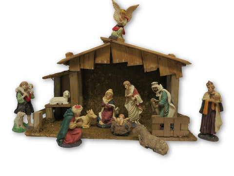 "Nativity Set - 11 resin figures 8"" with shed"