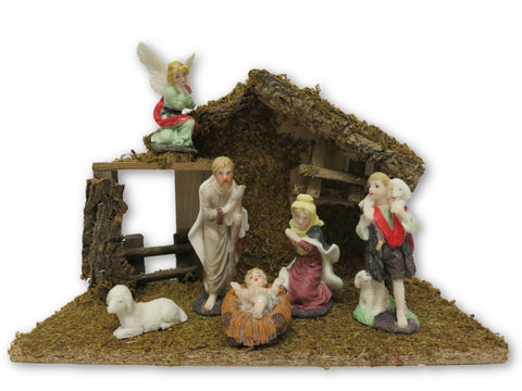 "Nativity Set - 6 resin figures 4"" with shed"
