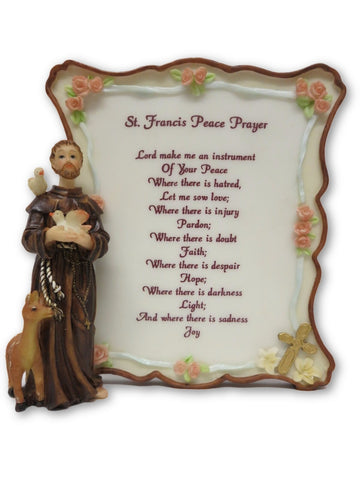St. Francis Peace Prayer Statue Plaque