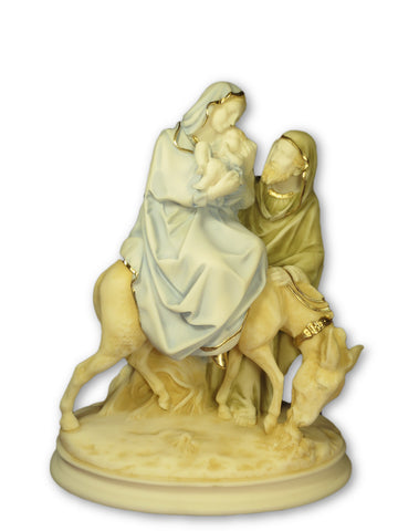 Holy Family / Flight Into Egypt Alabaster Statue (26cm)