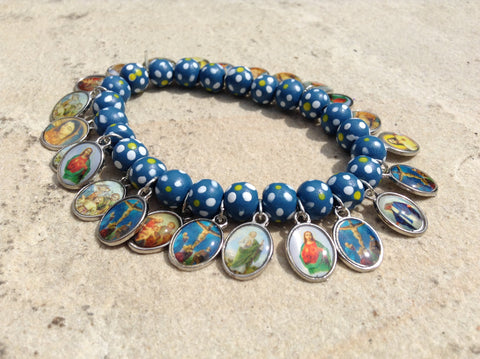 Spotted Blue Elasticated Bracelet with Medals