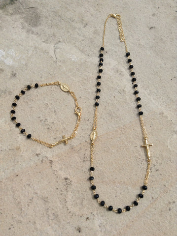 Rosary Necklace & Bracelet Set (White/Black)