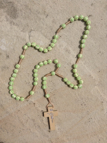Cream with Green Crosses Plastic Corded Rosary