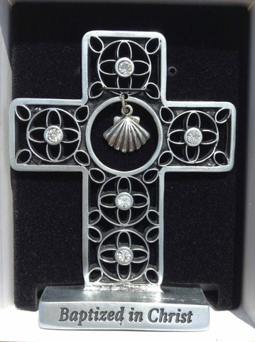 Baptized in Christ Standing Pewter Cross