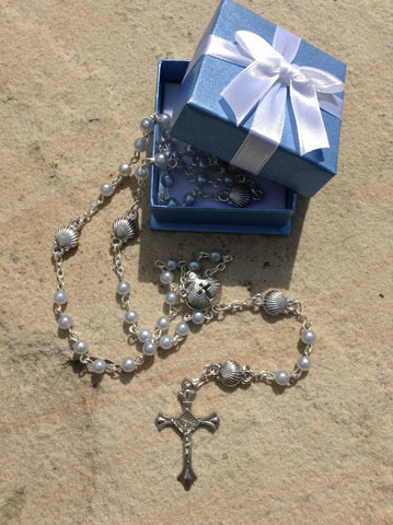 Blue Baby Baptism/Christening Rosary in Gift Box