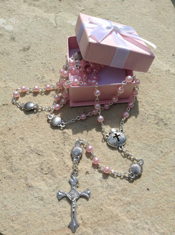 Pink Baby Baptism/Christening Rosary in Gift Box