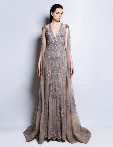 Allison Watercolor Nude Gown