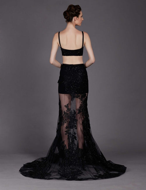 Brooklyn Black Embroidered Skirt With Bralet