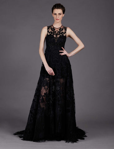 Alexa Black Flared Heavily Embroidered Gown