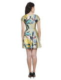 Peyton Mediterranean Floral Bird Printed Dress
