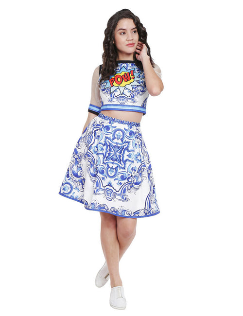 Aubree Pow Tile Printed Crop Top And Skirt
