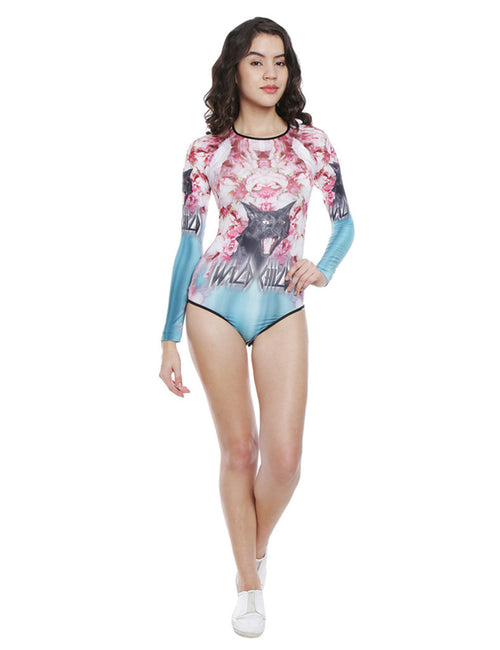 Naomi Pink And Sea Green Wild Child Floral Printed Body Suit