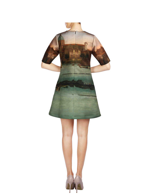 Scarlett Green And Brown Printed Short Scuba Dress