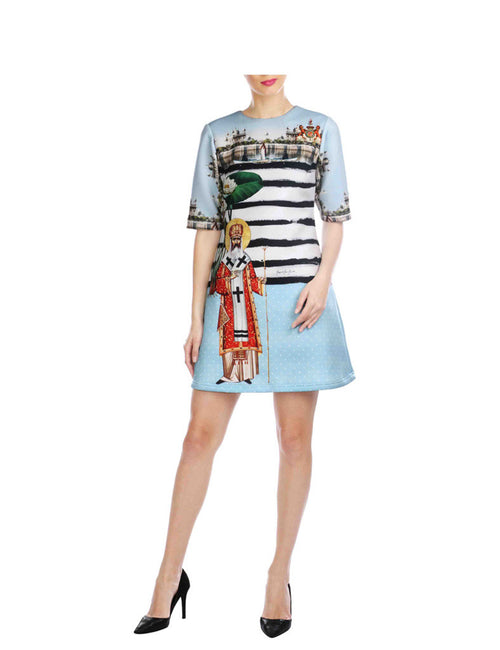 Victoria Blue Royalty Printed Short Scuba Dress
