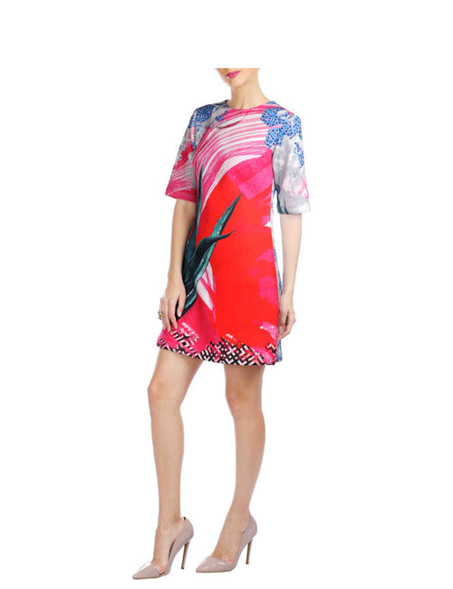 Natalie Red Printed Scuba Short Dress