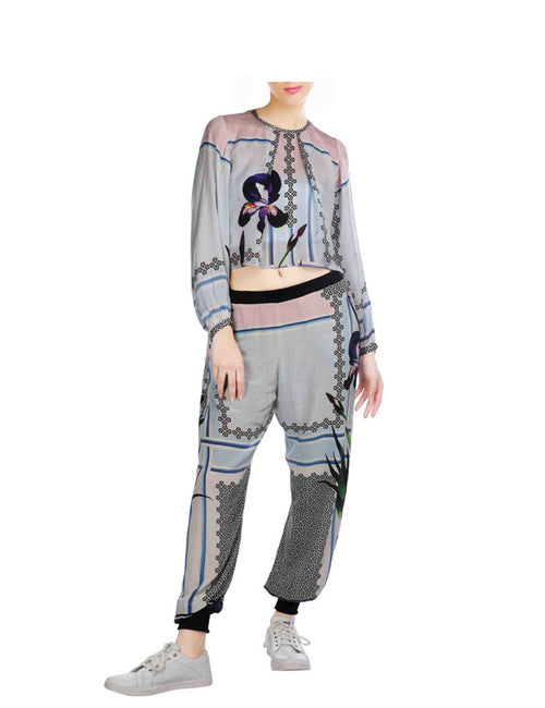 Alexis Printed Casual Crop Top With Track Pants