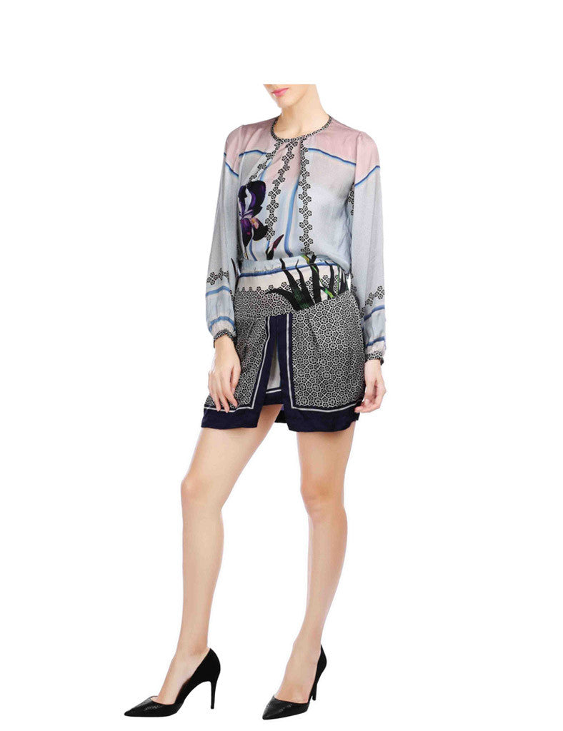 Kaylee Printed Casual Crop And Short Skirt