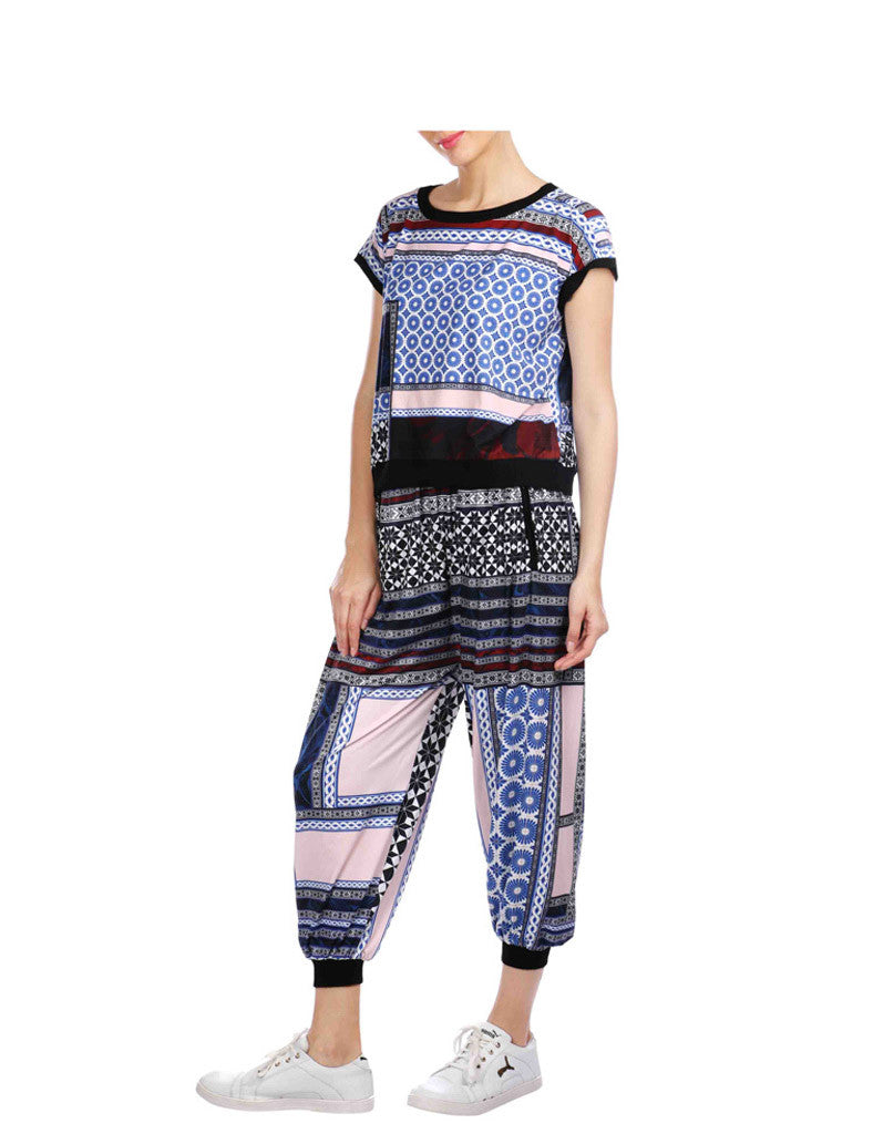 Ruby Black And Blue Printed Joggers