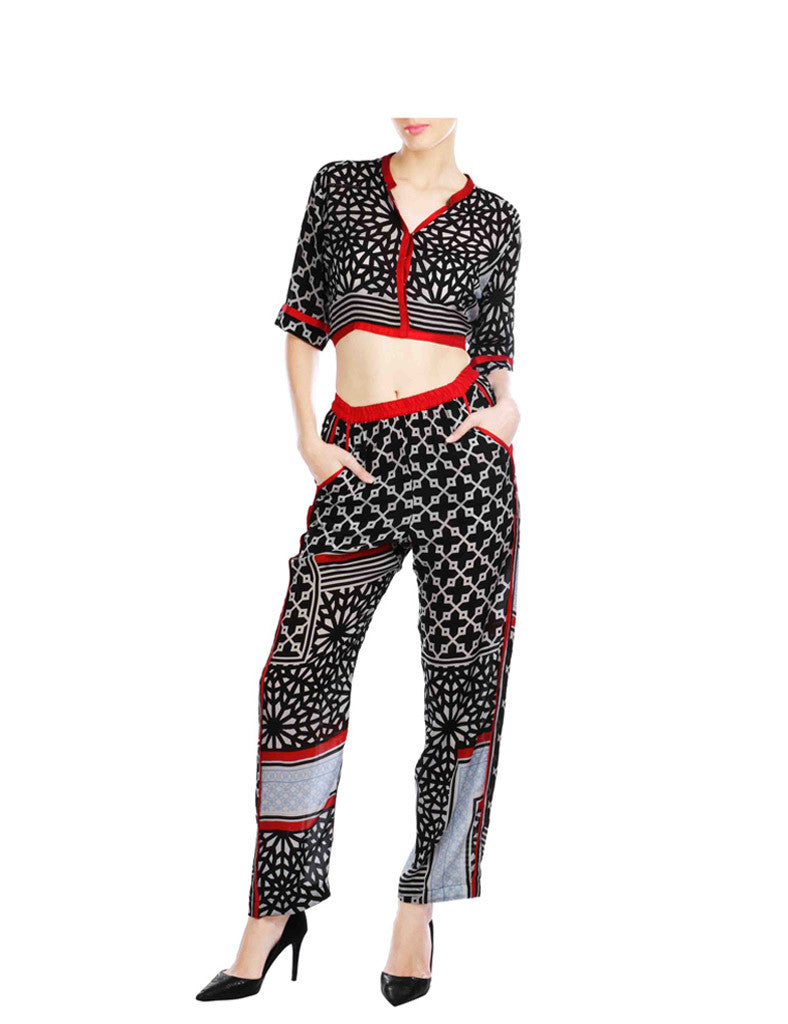 Mila Black Printed Crop Top And Pants