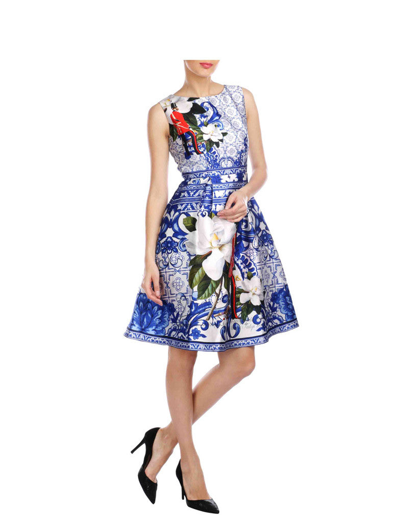 Avery Blue And White Soldier Printed Twill Skater Dress
