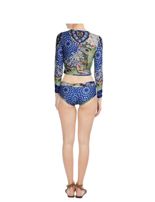 Arianna Blue Printed 2 Piece Swimsuit