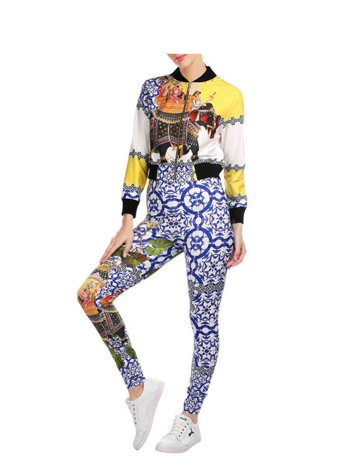 Ashley Blue Printed Rack Suit