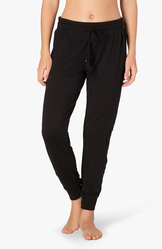 Banded mesh long sweatpant - Black