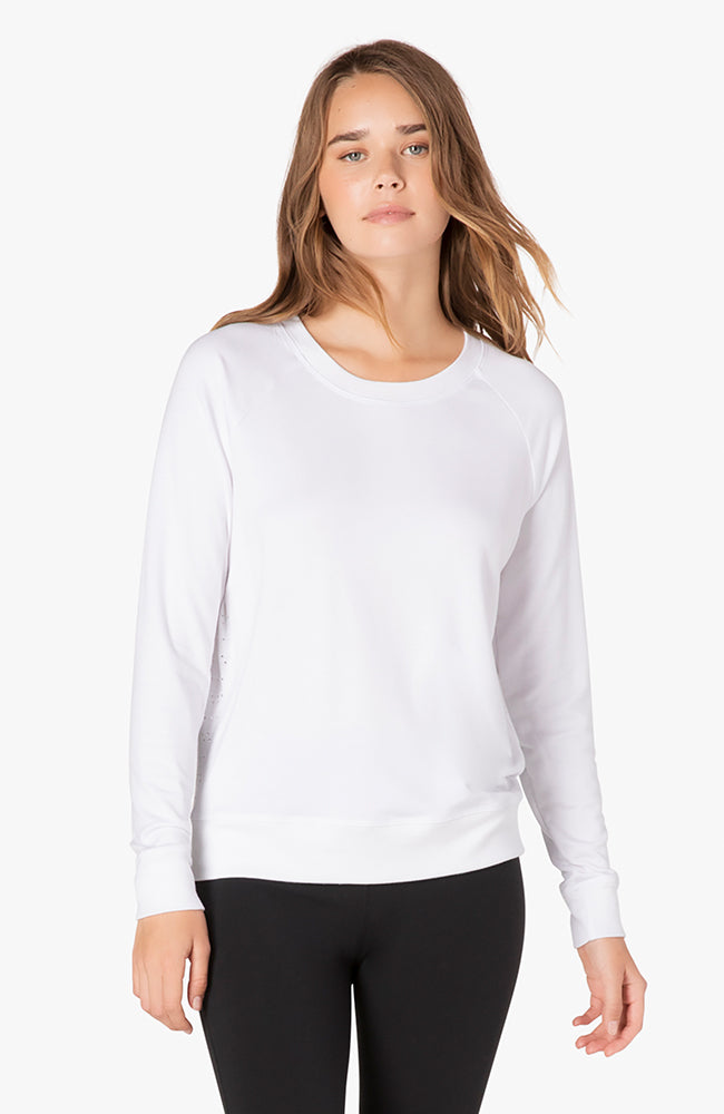 Banded mesh pullover - White