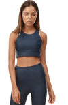 Paris Stripe Sports Bra - Navy