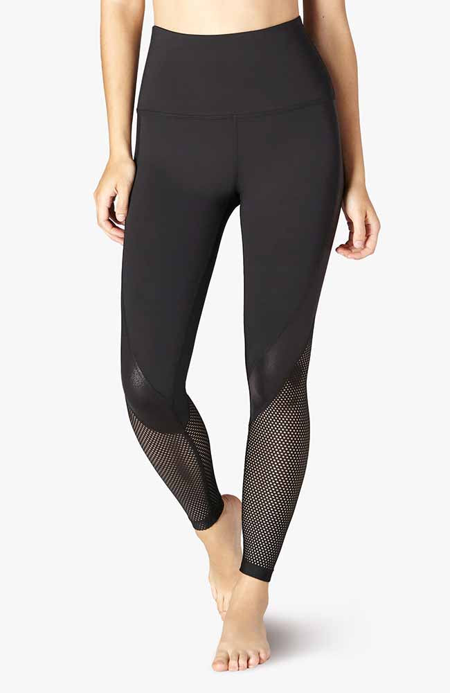 Pearlized Digital Wavelength High Waisted Midi Legging - Black