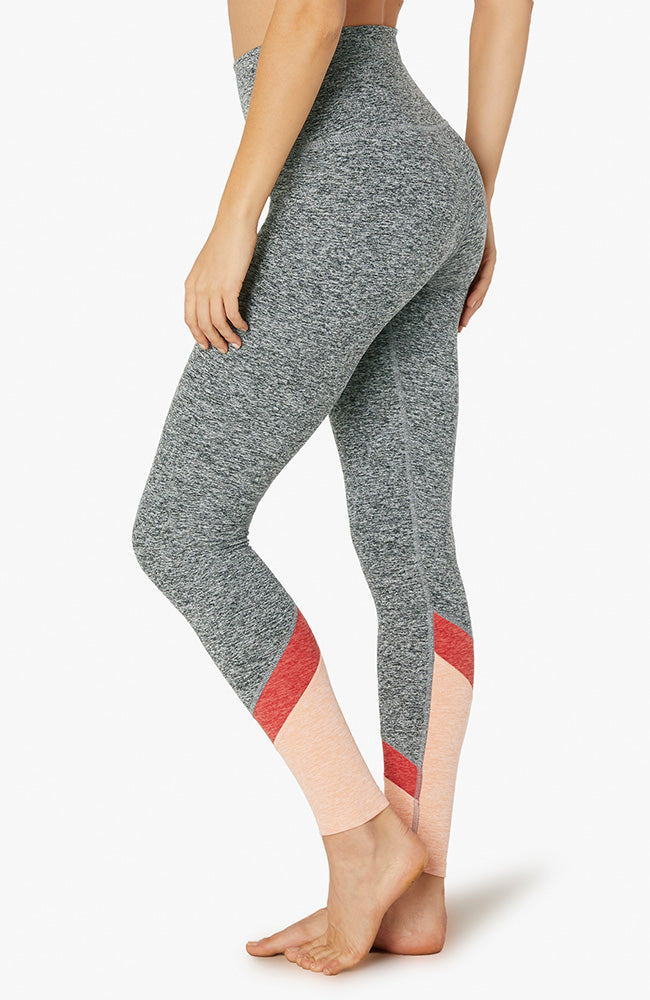 Spacedye color in high waisted long legging -Black/white