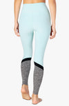 Spacedye color in high waisted long legging - Island topaz/white