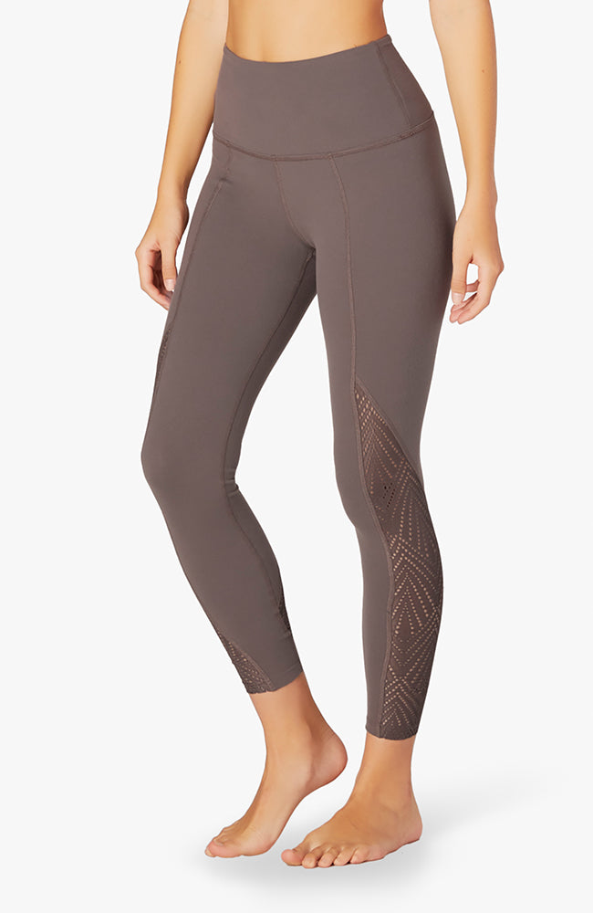 Mesh in line high waisted midi legging - Terra leather