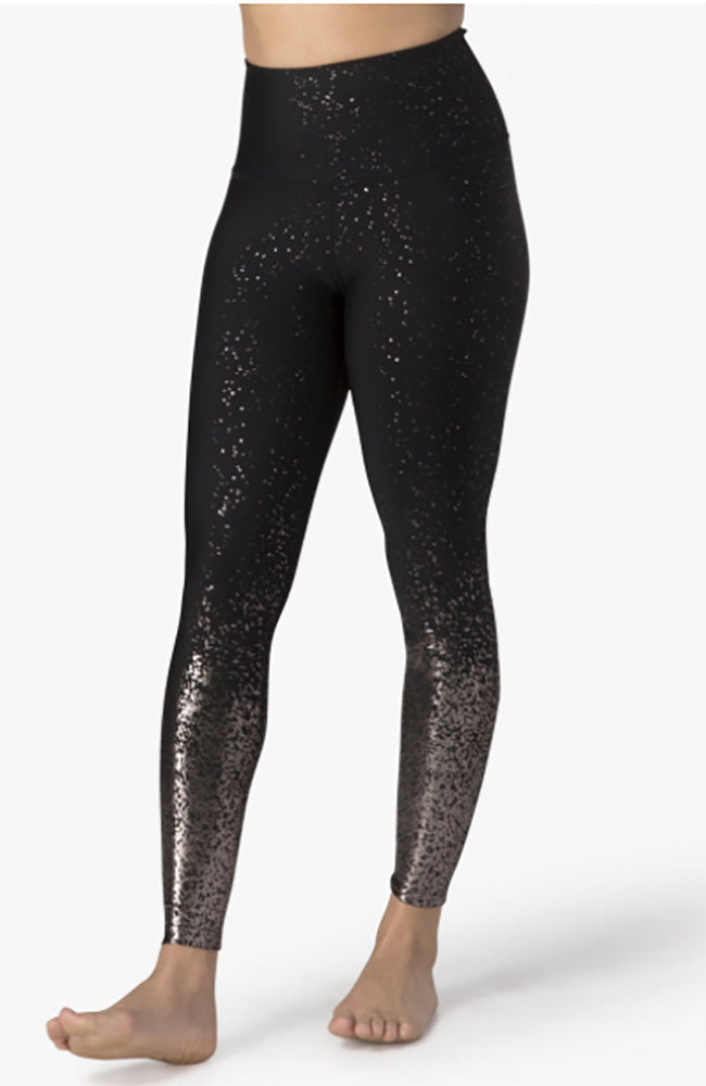 High waisted Alloy Ombre Midi Legging - Black Gunmetal Speckle