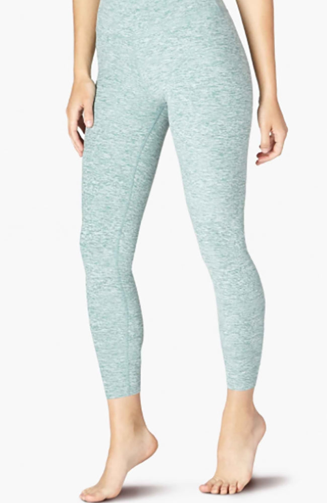 Spacedye caught in the midi high waisted legging - True Teal - White