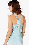 Lightweight crossed back tank - Island topaz/white