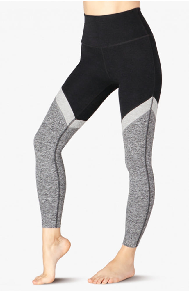 Tri-Panel Spacedye High waisted midi legging - Black-White