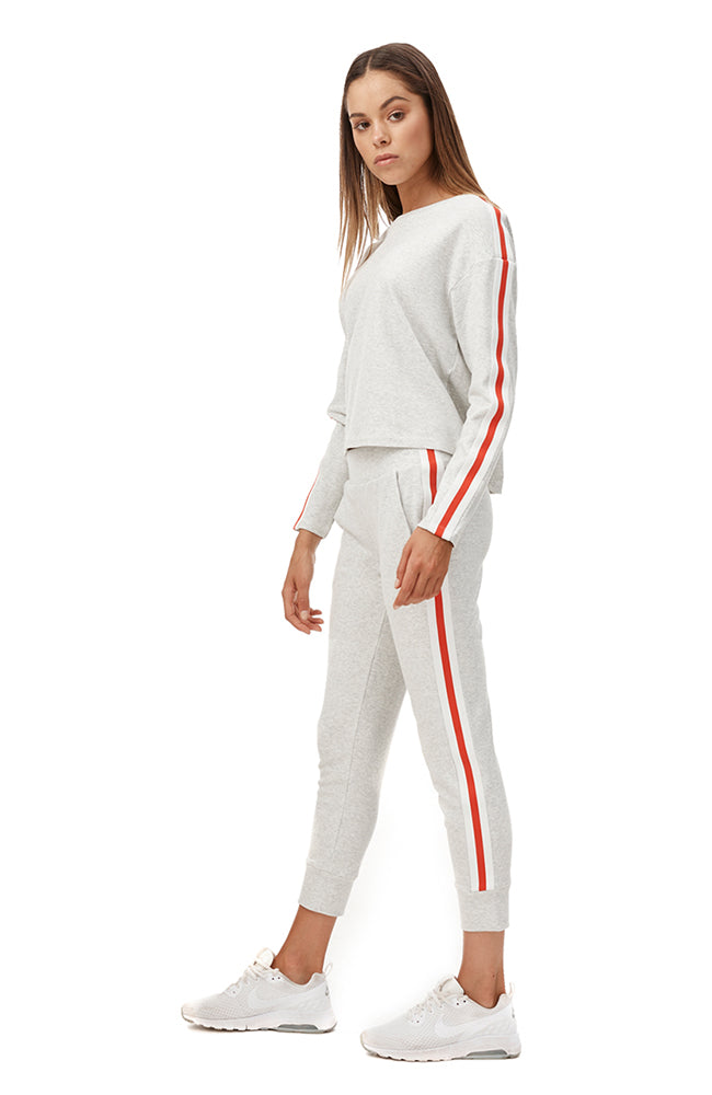 Tyra Sweat Pant - White Marle