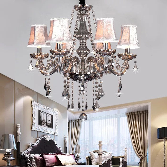 Grey crystal chandelier with lampshade homegees grey crystal chandelier with lampshade aloadofball Image collections