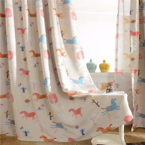 Horse Pattern Childrens Curtain Day And Night
