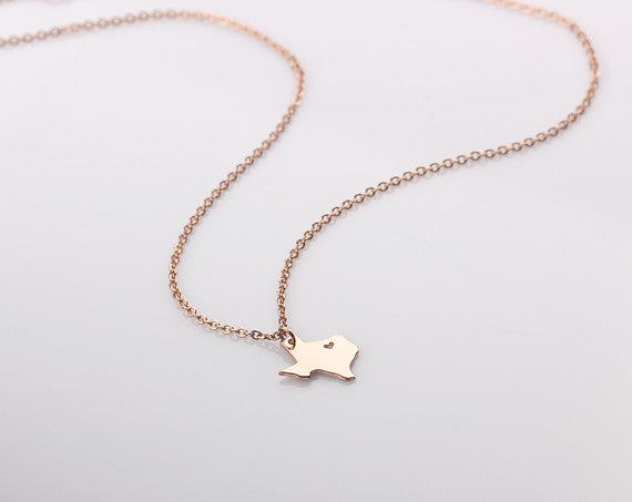 Home State Rhode Island Necklace - Map Charm