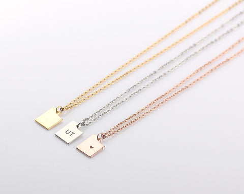 Utah State Charm Necklace - Small Utah Jewelry