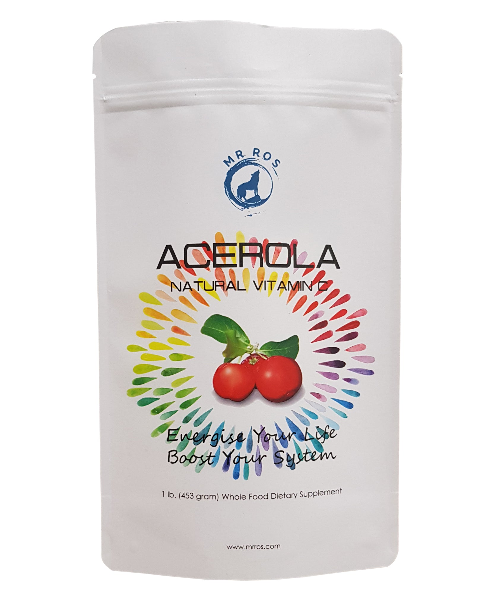 Natural Vitamin C Vitamins Acerola Powder-1 Lb (16 Oz-453 grams) by Mr Ros-100% Pure From Organic Origin - Mr Ros Natural Premium Superfoods