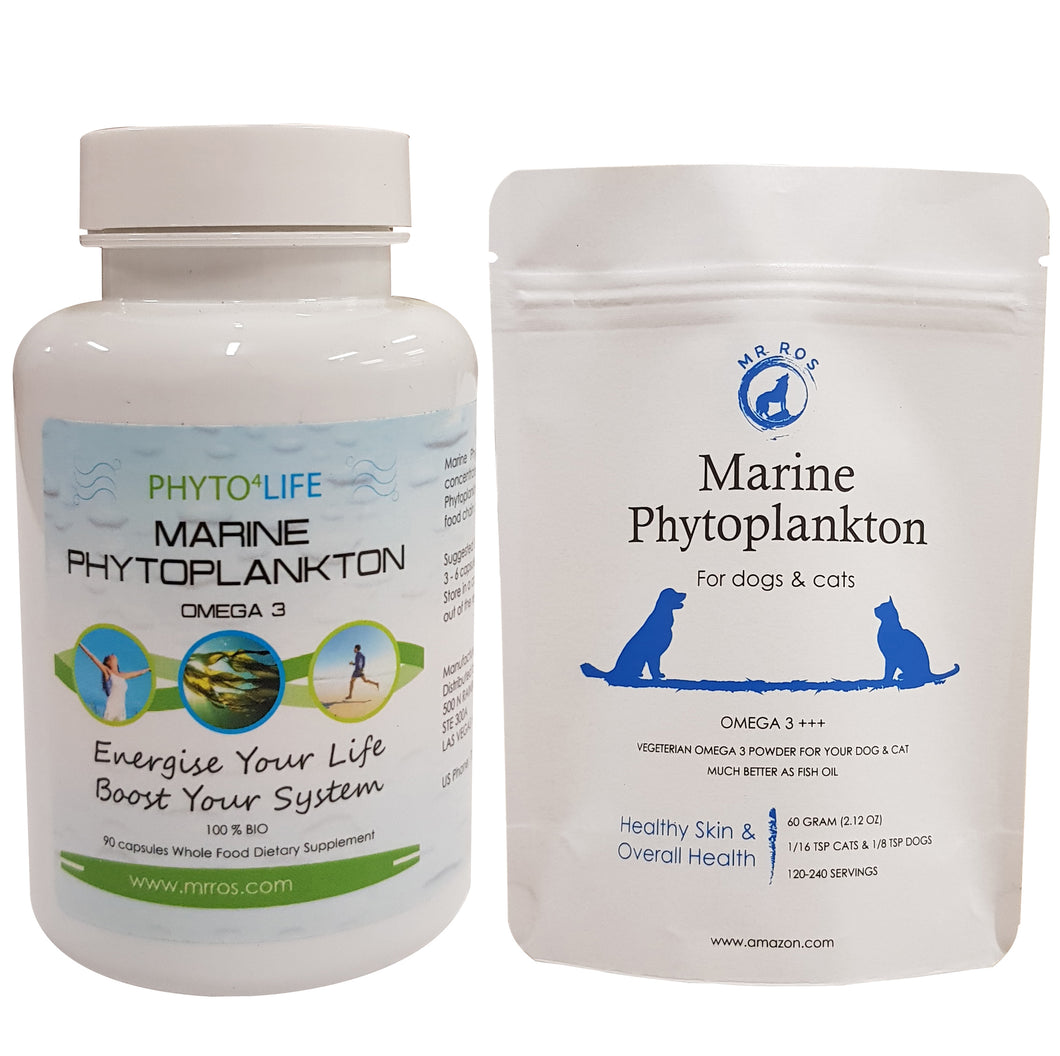 Marine Phytoplankton Powder for Pets & Marine Phyto Capsules for Humans - Mr Ros Natural Premium Superfoods