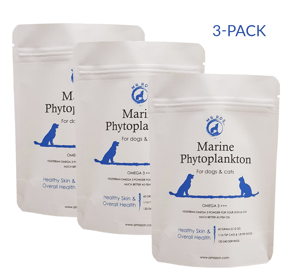 3-pack Marine Phytoplankton Omega 3 Vegetarian Powder for Dogs & Cats - Mr Ros Natural Premium Superfoods