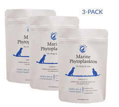 3-pack - Marine Phytoplankton Omega 3 +++ 2.12 Oz Vegetarian Powder for Dogs & Cats for Healthy Skin & Overall Health - Mr Ros Natural Premium Superfoods