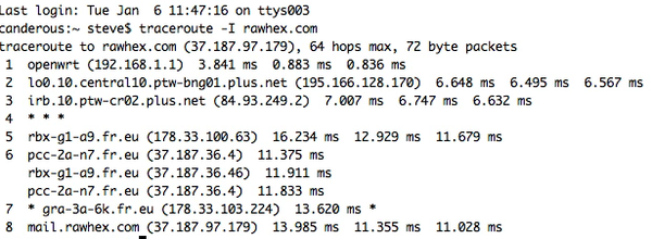 An ICMP traceroute from an OSX system to a Linux system