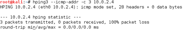 ICMP Address mask request with hping3
