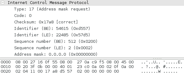ICMP Address mask request as seen in wireshark