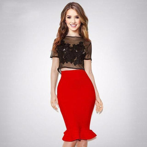 lady in red skirt